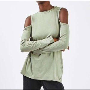 Top shop cold shoulder olive green top 6